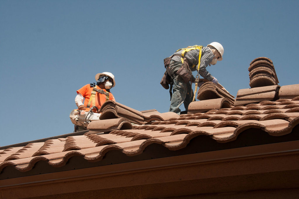 Our Roofers equipped with safety gear at a roof repair project in South Sydney